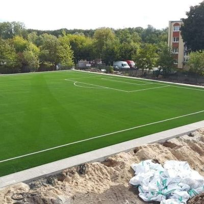 Football (soccer) pitch in artificial grass in Poznan, Poland.