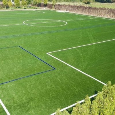 moduliq sports field built for Juventus Academy before air dome installation. Anchors are already installed but not visible.