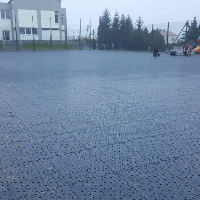 Sports field near Rzeszow during installation. Our modular system enables to install the pitch within days.